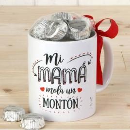 Taza cerámica Mi Mamá Mola en caja regalo 6bombones
