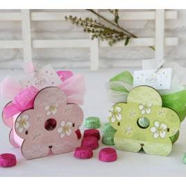 Lapicero flor madera stdo. verde/rosa 6 torinos, min.2