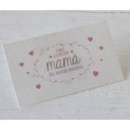 Tarjeta Mamá Mundial grabado rosa, 1hoja30,min.5