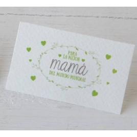 Tarjeta Mamá Mundial grabado verde 1hoja30,min.5