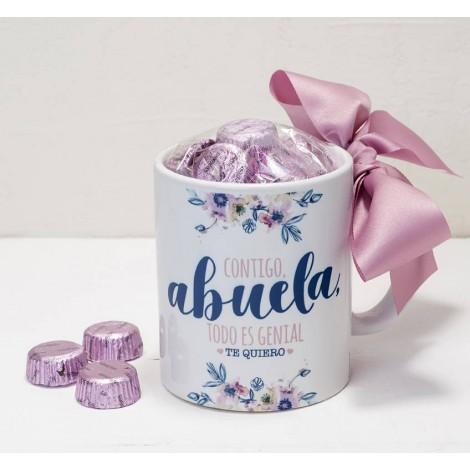 Taza cerámica Contigo Abuela en caja regalo 6 bombones