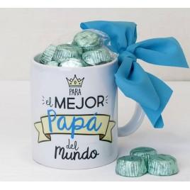 Taza cerámica Para el mejor Papá en caja regalo 6 bombones