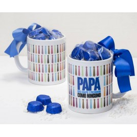 Taza cerámica Papá corbatas en caja regalo 6 bombones