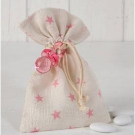 Bolsa algodón estrellas rosas chupete 5 peladillas choc.*