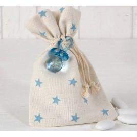 Bolsa algodón estrellas azules chupete 5 peladillas choc.*