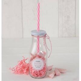 Botellita cristal caña rosa y viruta rosa 12 caramelos,min.8