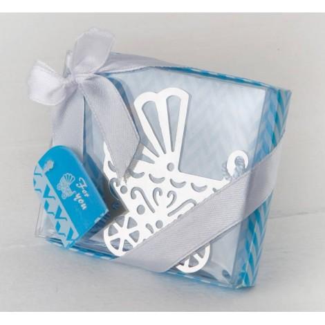 Punto libro cochecito bebé en caja azul 8,5x7,5cm.