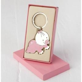 Llavero bebé Pita gateando con caja regalo rosa