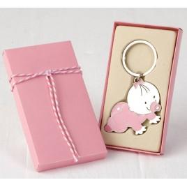 Llavero bebé Pita gateando con caja regalo rosa adornada
