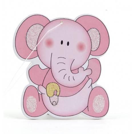 Colgante madera elefante rosa 6cm., min.12