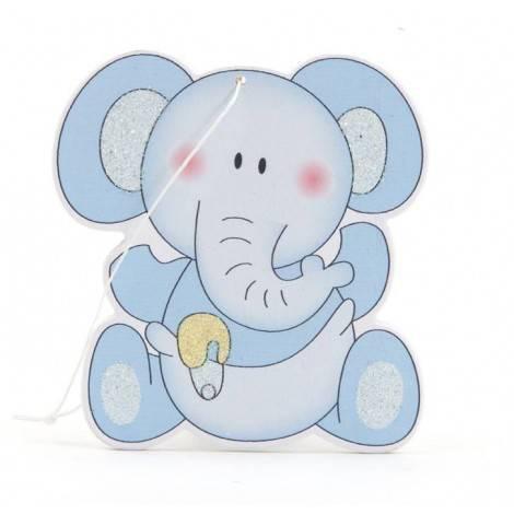 Colgante madera elefante azul 6cm., min.12