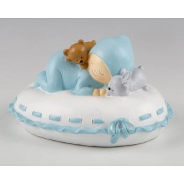 Figura para pastel + hucha bebé almohada azul 16x10x14cm