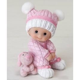 Figura pastel niña bebé sentada con peluche, 10cm.
