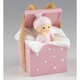 Figura para pastel+hucha bebé Caja Regalo rosa 9x14,5x9cm