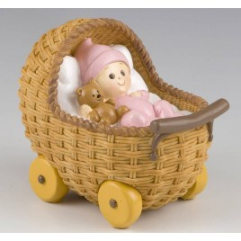 Figura para pastel + hucha Cochecito rosa 15,5x13x10cm