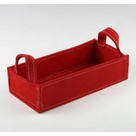 Cesta rectangular fieltro roja asas 30,5x12,7x14cm