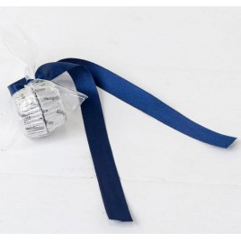 Adorno 2 bombones plata, lazo azul marino ,min.6*