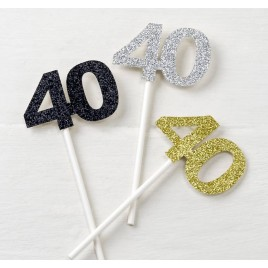 Pic 40 años stdo.plata/oro/negro purpurina,min.6