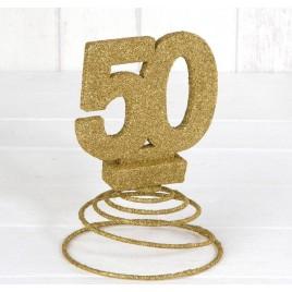 Deco.50 aniversario purpurina dorada con muelle 10x15cm.