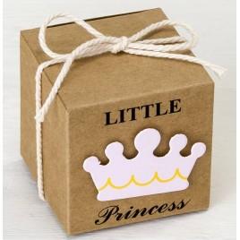 Estuche cúbico kraft 5cm. deco Little Prince rosa, min.25