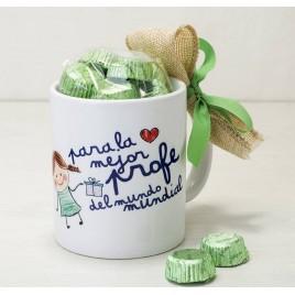 Taza cerámica La Mejor profe en caja regalo 6bombones