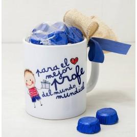 Taza cerámica El Mejor profe en caja regalo 6bombones