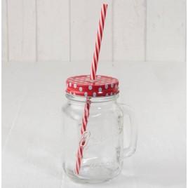 Tarro cristal con asa tapa roja topos y caña Ø7x13cm.min.6