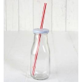Botellita cristal tapa blanca con caña roja, 6x15cm. min8