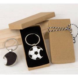 Llavero/abridor pelota fútbol en caja regalo decorada