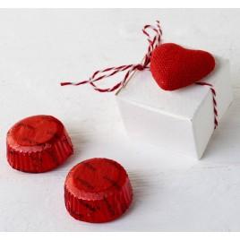 Cajita 2 bombones S.Valentín corazón adhesivo tela*