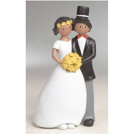 Figura pastel novios con bouquet 21cm.