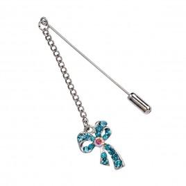 Alfiler metálico cadena y lazo diamantes azul min.12
