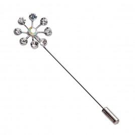 Alfiler metálico radial 8diamantes, min.12
