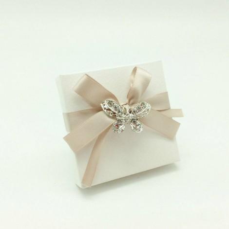 Broche mariposa strass en estuche decorado y 3 crocki-choc