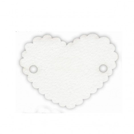 Tarjeta blanca corazón 2 agujeros 5x4cm (preciox30u) min.30