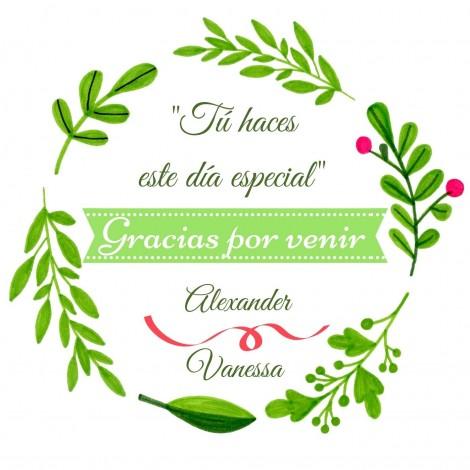 Hoja 15 Pegatinas Circulo floral verde Boda
