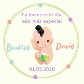 Hoja 15 Pegatinas Redondas Bebé niño
