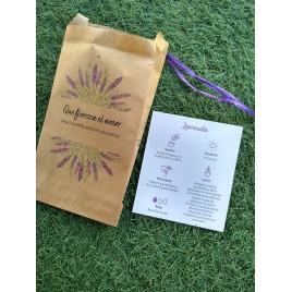 Sobre adornado semillas lavanda Que florezca..11x19cm min.25