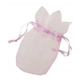 Saquito cristal rosa flor 7,7x12,5cm, min.24