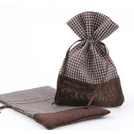 Saquito yute / vichy marrón 10x14,5cm, min.12