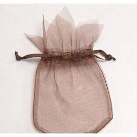 Saquito cristal marrón flor 9x14cm, min.24