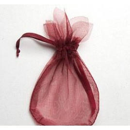 Saquito cristal granate flor 7,7x12,5cm, min.24