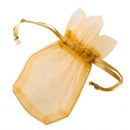 Saquito cristal dorado flor 7,7x12,5cm, min.24