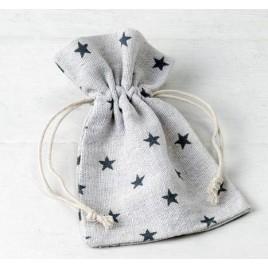 Bolsa algodón estrellas gris 10x14cm. min.12