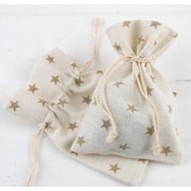 Bolsa algodón estrellas beige 10x14cm. min.12