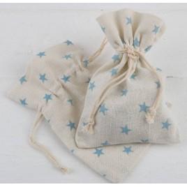 Bolsa algodón estrellas azules 10x14cm. min.12