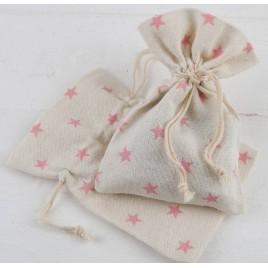 Bolsa algodón estrellas rosas 10x14cm. min.12
