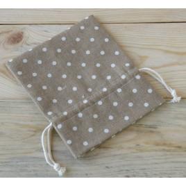 Bolsa algodón marrón topos marfil 14cm. min.12