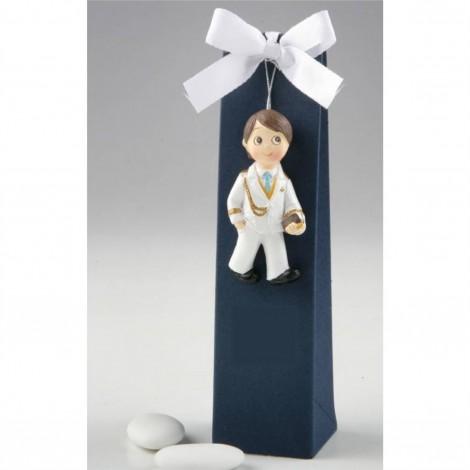 Imán Comunión niño almirante blanco caja azul, 3 peladillas
