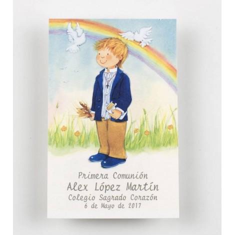 Estampa niño Comunión arco iris preciox25u., min.25